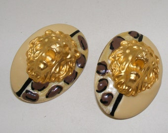 Vintage Roaring Lion Head Clip Earrings