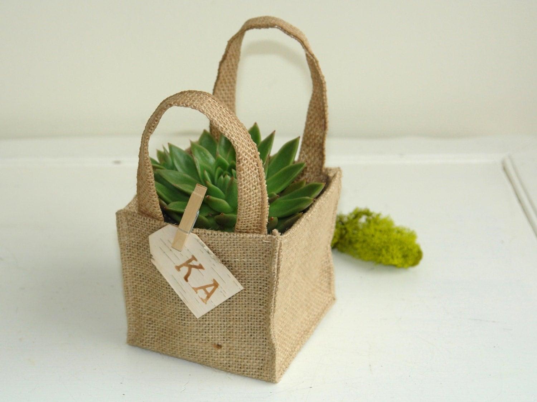 succulent burlap planter pot cover birch bark tags rustic flower girl wedding burlap basket. Black Bedroom Furniture Sets. Home Design Ideas