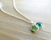 Two Birthstone Necklace in Sterling Silver - Swarovski Crystal (1003)