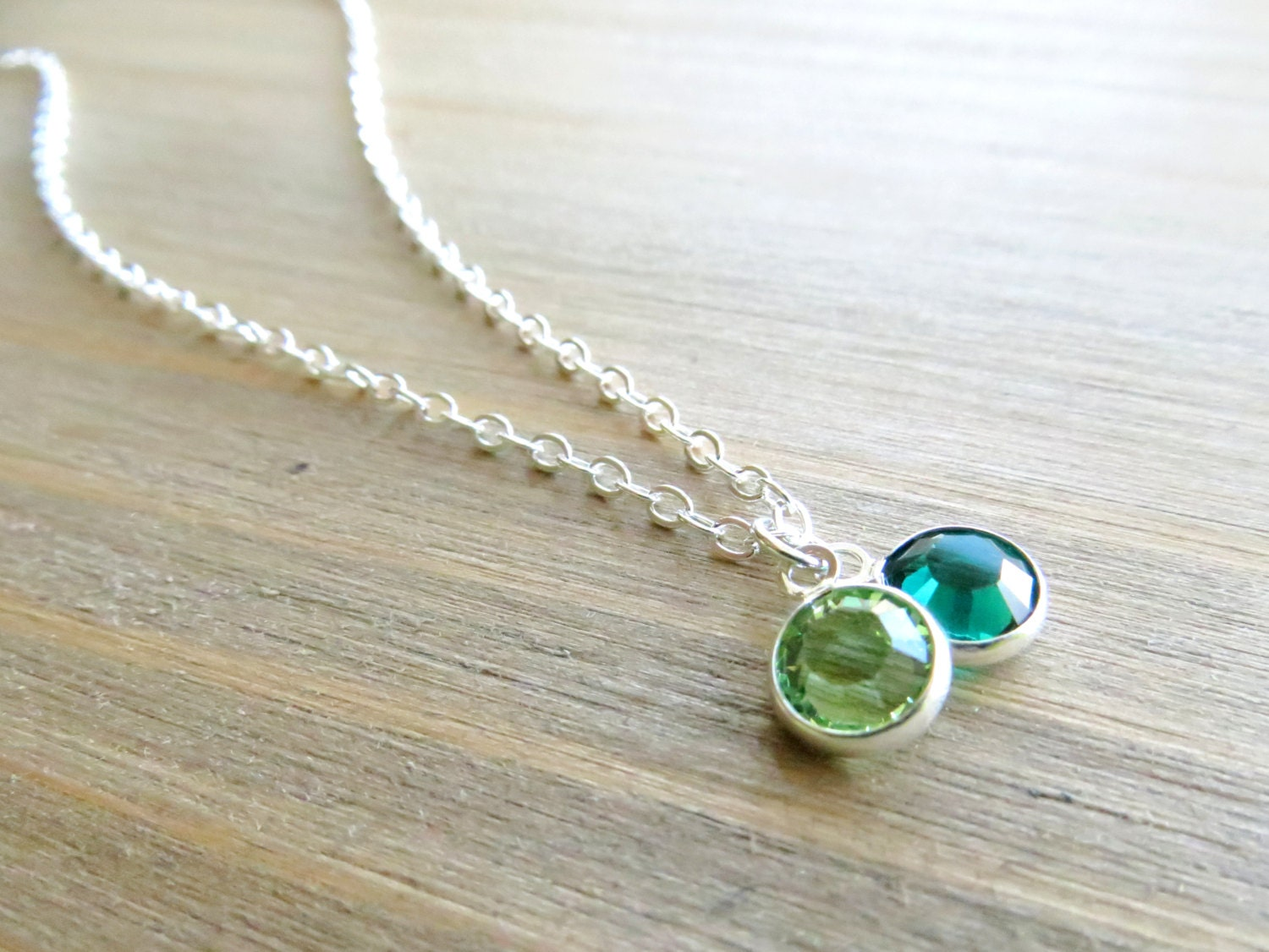 two birthstone necklace in sterling silver by lakunaboutique