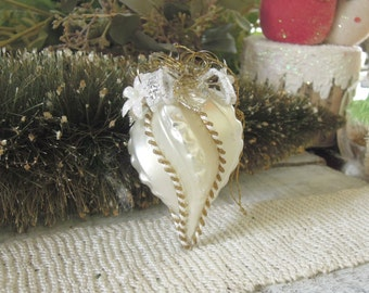 Vintage White and Gold Teadrop Ornament