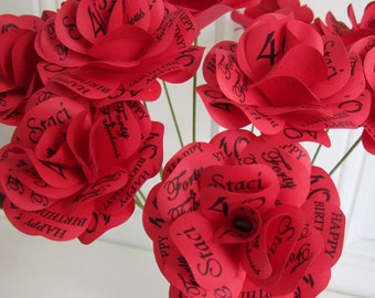 """Red Roses for Graduation, Wedding, Birthday, or Anniversary Gift Paper Roses with Personalized Print 12- 2 1/2"""" Diameter Roses w/ 12"""" Stem"""