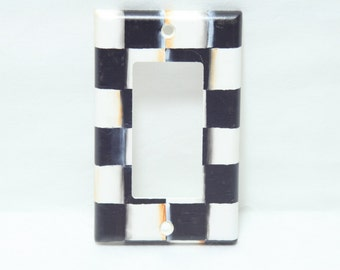 Hand Painted Single Switchplate Cover, Black and White Check Checkerboard, Beth Baker Artist