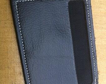 Leather Card Wallet, Minimalist, Black w Black Lining