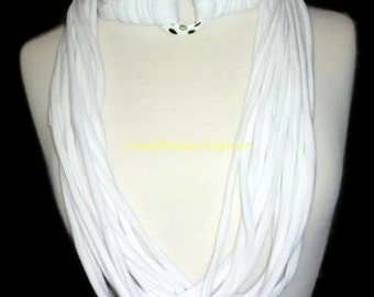 Infinity Scarf, Unique Gift For Her, Womens, White Infinity Scarf, White Scarf, Infinity Scarf White, Circle White Scarf, Cotton Chic Scarf