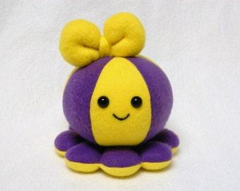 Custom plush toy octopus team or school colors