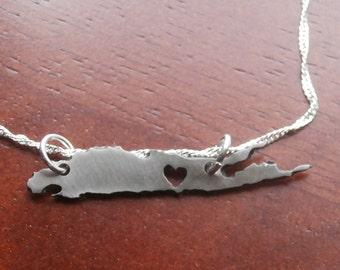 Long Island Stainless Steel Custom heart cutout Necklace