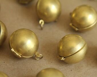 2 pc. Raw Brass Ball Lockets | LOC-017