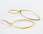 Gold Marquise Hoop Earrin...