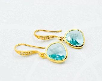 Aqua Blue with Cubic Zirconia Gold Dangles, Light Blue Gold, Wedding Earrings, Bride Earrings, Bridesmaid Jewelry