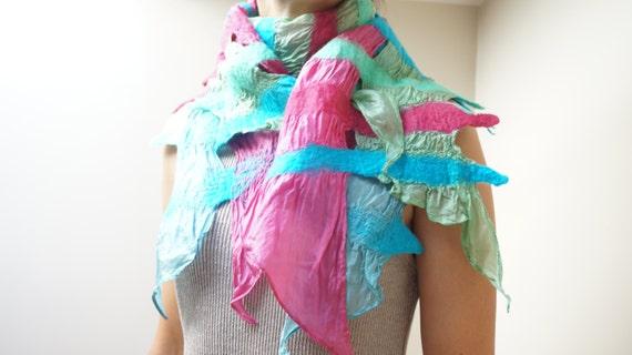 Felted Scarf Shawl Wrap: Pastel Green Pink Teal Blue Silk, Wool nuno felt. OOAK.