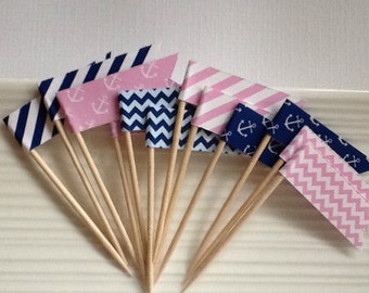 Nautical Navy and Pink / Anchor / Party Picks / Food Picks / Cupcake Toppers / Flags