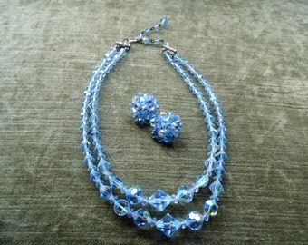 Stunning Vintage Double Strand Aurora Borealis Blue Crystal Necklace & Matching Clip-On Earrings