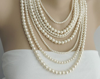 Multi Strand Pearl Necklace - Layer pearl necklace - Statement Necklace - pearl jewelry, chunky necklace - Bib Necklace