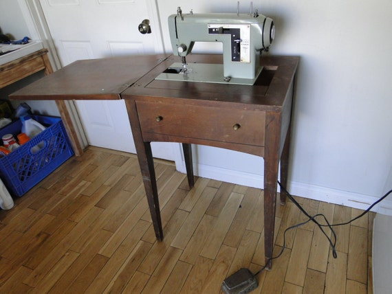 Old Sears Kenmore Sewing Machine w/ Wooden Cabinet | Shop Your Way ...