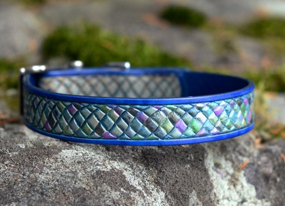 Items similar to rainbow fish scales iridescent leather for Fish dog collar