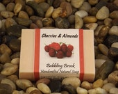 Cherries and almonds handmade soaps, handmade with natural ingredients