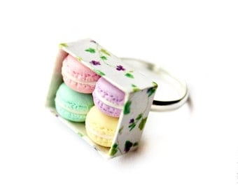 FREE SHIPPING - Romantic Macarons Ring - Food Jewelry - Spring