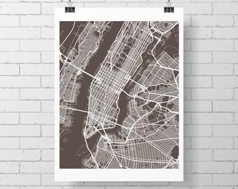New York City Map Print / Manhattan Street Map Drawing - Custom NYC Map, Various Sizes & Colors, Map Art Print Poster