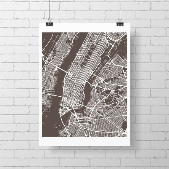 New York City Map Print Manhattan Street Map Drawing – Street Maps of New York City