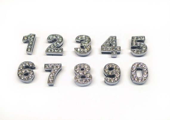 10 Number Sliders Charms Numeric Beads Crystal Rhinestone Letters 10mm