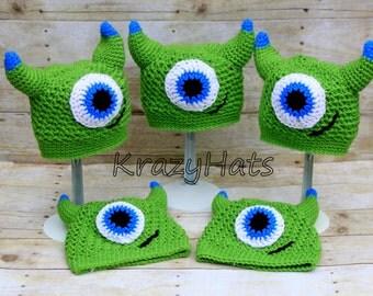 Crochet green monster hat.