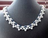 So nice beads and crystals  necklace - Handmade Beadweaved