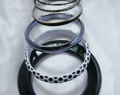 Black Bangle Bracelets, Lot of 7, Mixed Materials:  Lucite, Plastic, Metal, Polka Dot