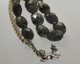 Labradorite horse necklace (#2)