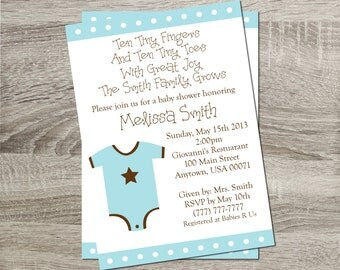 Printable Baby Shower Invitation - Baby Blue Onsie 5x7 Invitation