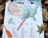 """National Parks Checklist Map Poster / Ready To Use 12""""w X 18""""h / Home and Living / Camping / Travel /"""