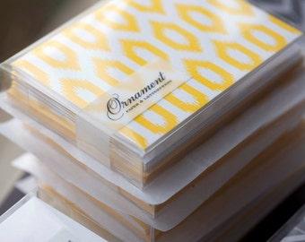 Yellow Ikat Letterpress Card Set