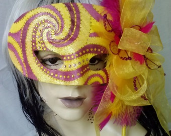 Mask Mardi Gra Venetian MASQUERADE Carnevale Venice Halloween Faery Whimsical Carnival Cosplay Theatre Fantasy OOAK Fairy Handle Yellow Pink