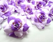 24 two-tone Purple mini Roses Heads - Artificial Silk Flower - 1.75 inches - Wholesale Lot - for Wedding Work, Make Hair clips, headbands