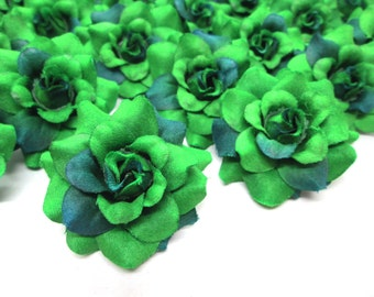 24 Green mini Roses Heads - Artificial Silk Flower - 1.75 inches - Wholesale Lot - for Wedding Work, Make Hair clips, headbands