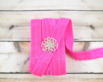 "5  or 10 Yards 5/8"" Fold Over Elastic - Neon Pink Color - Elastic Fold Over  - DIY Hair Accessories Supplies"