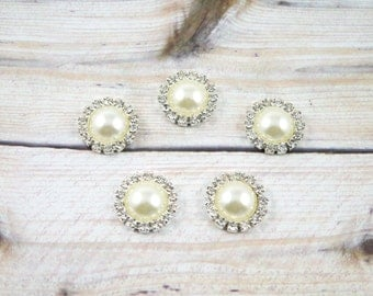 15mm Round Pearl Bead Rhinestones - Ivory Color - Flat Back/ High Quality - Vintage Pearl Rhinestones -Hair Accessories Supplies