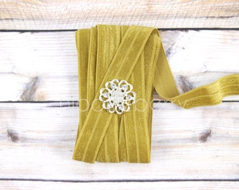New 5 or 10  Yards 5/8 Fold Over Elastic - Gold Color - Elastic - DIY Hair Accessories Supplies