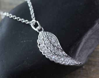 Wing, Sterling Silver Cubic Zirconia Angel Wing pendant Necklace, Silver wing, Protection Necklace, By LifeOfSilver