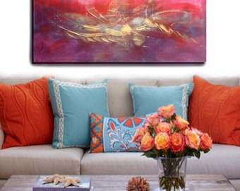 Original Abstract Modern Oil Painting On Stretched Canvas Ready to Hang - Red