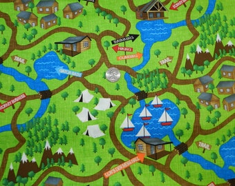Zoo Animal Camping Map - Fabric By The Half  Yard 18 inches x 44 inches