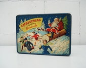 RESERVED FOR JUDI,Vintage Christmas biscuits  tin box, blue red, snow scenes