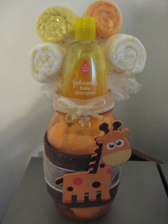 Items Similar To Baby Shower Giraffe Mason Jar Safari Centerpiece Washcloth  Lollipop Table Decoration Gift On Etsy