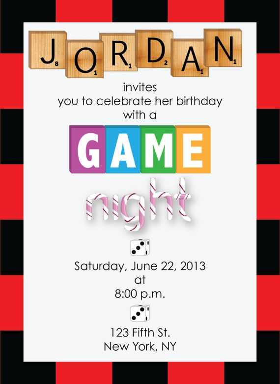 printable game night party invitation by designcaddie on etsy