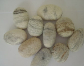10 Soft, small, Felt pebbles, Contemporary Home Decoration