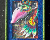 Rainbow bird brain weird woven string shadow box colorful ORIGINAL abstract psychedelic artwork