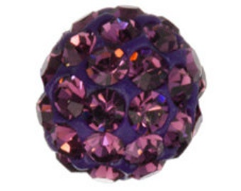Set of 6 Amethyst 6mm Bling Ball Bead (SKU 2264 - BB-6-AM)