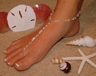 Barefoot Sandal - Simply Elegant  White Pearls Silver Beads Swarvoski Crystals IIII Destination Wedding, Beach Bridal Shoes, Glass Slipper