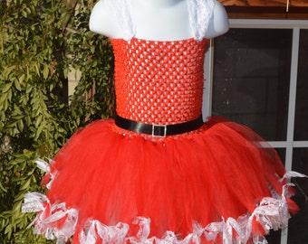 Santa tutu dress costume/Mrs. Claus tutu dress costume/lace tied tutu dress/photo prop