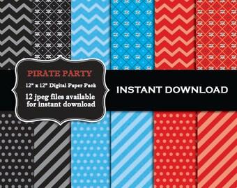 INSTANT DOWNLOAD Pirate Scrapbook Paper  - Printable Digital DIY Pirate Paper Pack